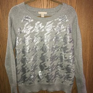 Banana Republic Gray Houndstooth Sequin Sweater XL